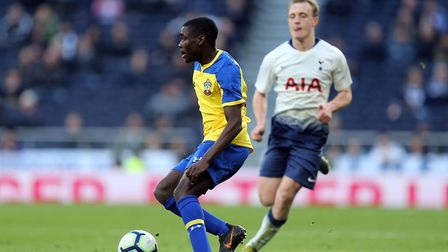 Roland Idowu of Southampton and Oliver Skipp of Tottenham during Tottenham Hotspur Under-18 vs South