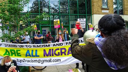 Protesters gathered outside Stoke Newington Police Station on July 11. Picture: Dean Ryan