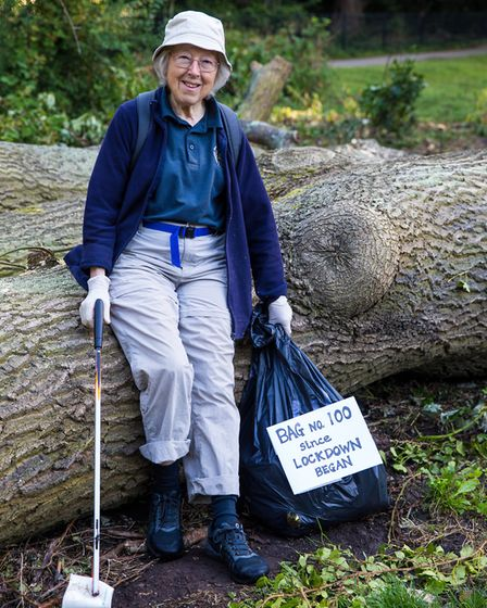 """""""Litter Fairy"""" - Ruth Edwards - 100 bags since Lockdown began. Picture: Copyright of David Godfrey-"""