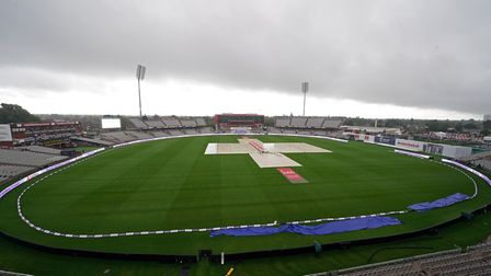 The wicket is covered as rain wipes out day three of the Second Test at Emirates Old Trafford