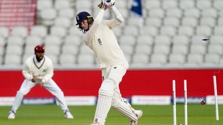 England's Zak Crawley is bowled out by West Indies' Kemar Roach