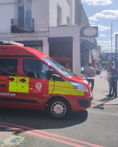 Firefighters on the scene of a fire at a Camden chip shop. Picture: Michael Boniface