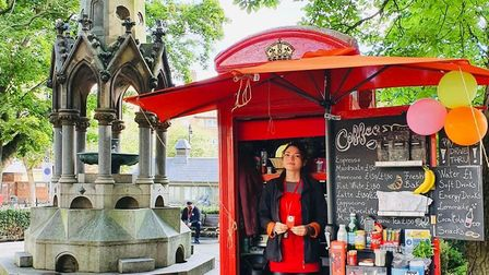 Anastasia Stan at the South End Bean phonebox in South End Green. Picture: South End Bean