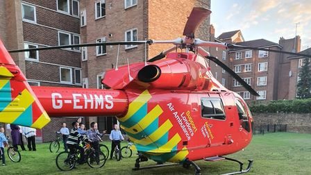The air ambulance was scrambled after a man was stabbed in Amhurst Park. Picture: @999London
