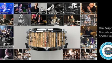 A lot in the drumathon auction - a drum frame made out of signed drumsticks from participants. Pictu