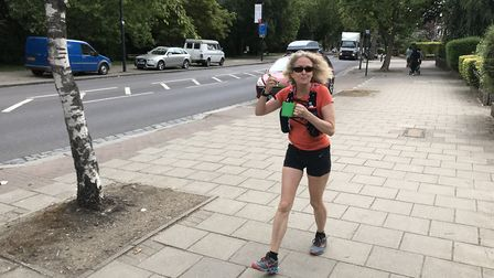 Jane eating some scrambled eggs on her 60-mile walk. Picture: Dr Jane Stephens