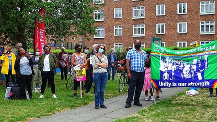 Campaigners at the protest organised by Hackney Stand Up To Racism (HSUTR) said the hospital could b