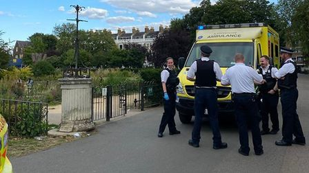 Emergency services on the scene after a teen was stabbed in Clissold Park. Picture: Roy Chako