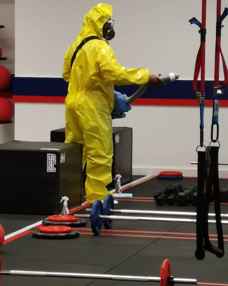 The gym being cleaned with disinfectant. Picture: F45 Highgate