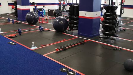The two-by-two metre squares marked out for each participant. Picture: F45 Highgate