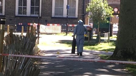 Police tape off the crime scene after a boy was stabbed in London Fields. Picture: @LundunFeeldz