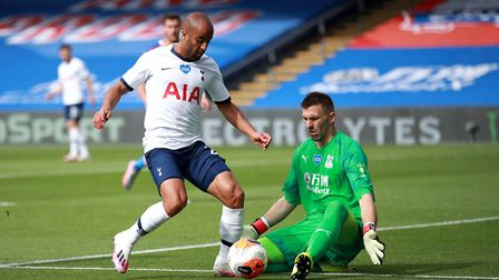 Tottenham Hotspur's Lucas Moura attempts a shot on goal