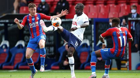 Crystal Palace's James McCarthy and Tottenham Hotspur's Moussa Sissoko in action