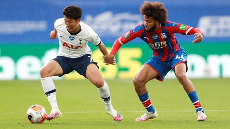 Tottenham Hotspur's Son Heung-min and Crystal Palace's Jairo Riedewald battle for the ball