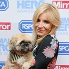 Michelle Collins and Humphrey attending The Animal Hero Awards held at Grosvenor House Hotel in 2017