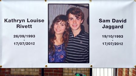 A banner showing the two teenagers. PICTURE: Mick Howes.