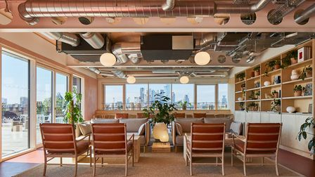 The office building includes relaxed lounge areas and terraces with panoramic views of London