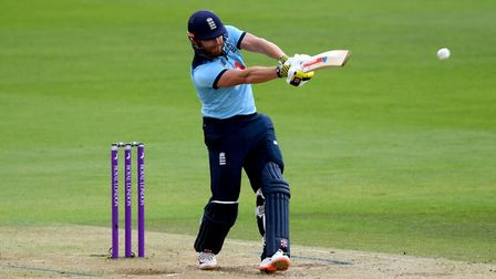 England's Jonny Bairstow hits four runs during the second One Day International of the Royal London