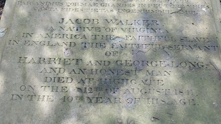 The grave reads: 'Jacob Walker, a native of Virginia, in America the faithful slave, in England the