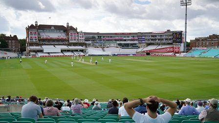 Spectators watch the action from the stands during the friendly match at the Kia Oval, Londonduring
