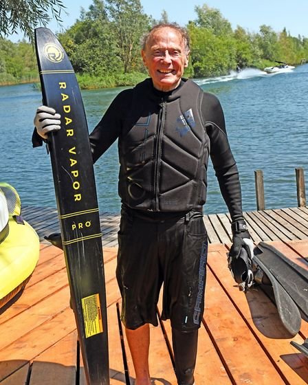 Irving Stone celebrated his 80th birthday by waterskiing on the lake at DAMS Watersports Ltd, in Lit