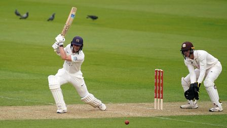 Middlesex's Nick Gubbins hits out during day one of the Bob Willis Trophy match agaist Surrey at the