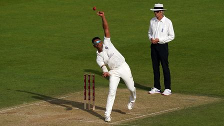 Middlesex's Thilan Walallawita bowls during day two of the Bob Willis Trophy match at the Kia Oval