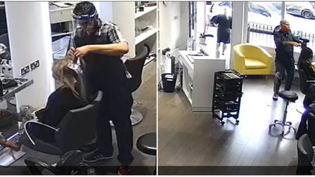 The woman having her highlights done (left) and leaving the salon (right) before she darted without