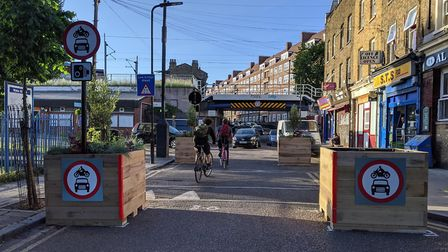 A traffic filter implemented on Barnabas Road. Picture: Hackney Council
