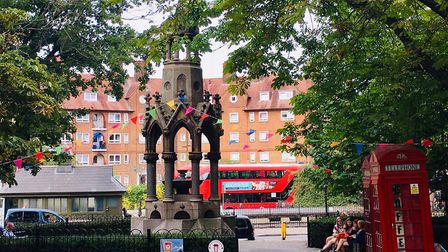 Bunting on South End Green as the Streatery there takes shape. Picture: Anastasia Stan