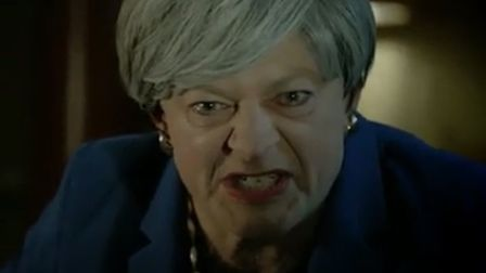 Theresa May portrayed as Gollum. Photograph: People's Vote.