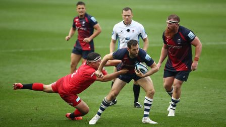 Saracens' Jamie George tackles Bristol Bears' Luke Morahan during the Gallagher Premiership match at
