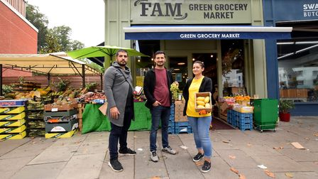 Ibrahim Tas, Ilhah Boz and Sev Dnmz from Fam greengrocers. Picture: Polly Hancock