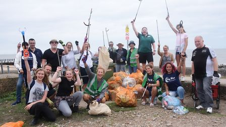Volunteers with some of the rubbish and litter they have cleared from the North Denes dunes and beac