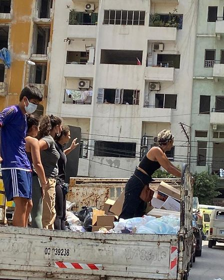 Sarah Sakaan and her family have been helping to deliver food and supplies in Beirut. Picture: Sakaa