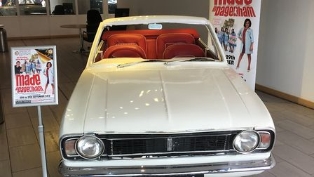 FORD CORTINA STAGE PROP VISITS JOHN GROSE SHOWROOM to promote Lowestoft Players production. Picture:
