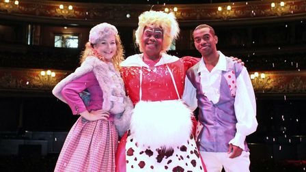 The cast of Jack and the Beanstalk at the Hackney Empire in December 2015.
