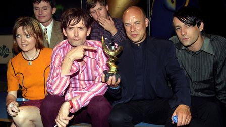 Pulp frontman Jarvis Cocker points at the 1996 Mercury Music Prize, awarded for their album 'Differe