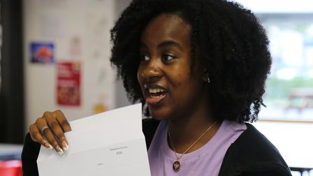 Husnah Nakalema is delighted with her A Level results on results day 2020 at The Urswick School.