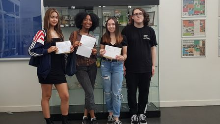 Amy Santos Nunes, Marie-Eunice Kouassi, Emma Owens and Caelan Fortune who are celebrating their A Le