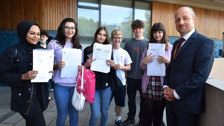 UCL Academy's co-principal Robin Street with students receiving their results. Picture: Polly Hancoc