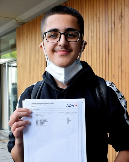 UCL Academy student Sam Ali Nateghian who received straight 9s. Picture: Polly Hancock