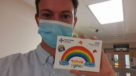 Journalist Harry Taylor has been volunteering at the Royal Free Hospital, handing out scrubs. Pictur
