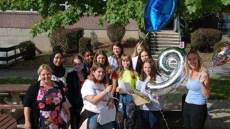 Pupils celebrate GCSE results at Hornsey School for Girls. Picture: HSfG