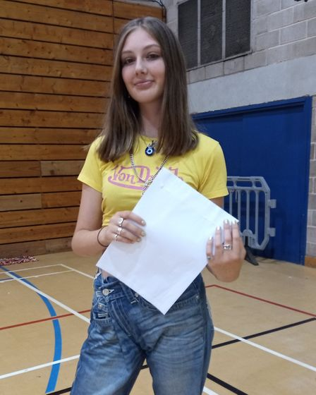 Mimi Brown, pleased with her GCSE results, at Highgate Wood School. Picture: Sam Volpe