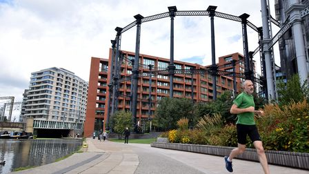 Running past Gasholder Park in King's Cross. Picture: Polly Hancock