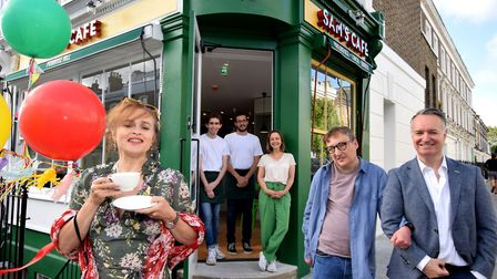 The opening of Sam's Cafe, Chalcot Road, in Primrose Hill. Pictured front is special guest Helena Bo