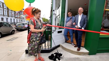 Helena Bonham Carter cuts the ribbon, with co-owners Sam Frears and Andrew O'Hagan. Picture: Polly H