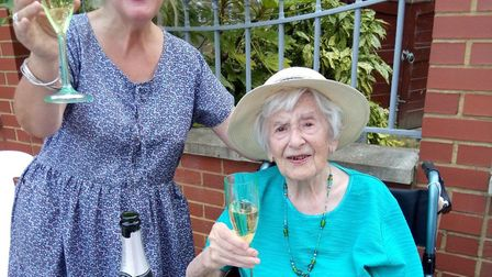 Angela Hutor celebrating her 107th birthday with her daughter Pauline Hutor. Picture: Courtesy of t