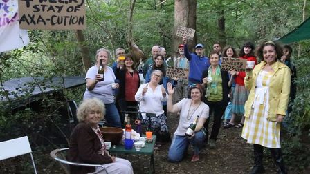 Campaigners toast a 4-week reprieve for under-threat oak trees in Queen's Wood. Picture: Julian Glas